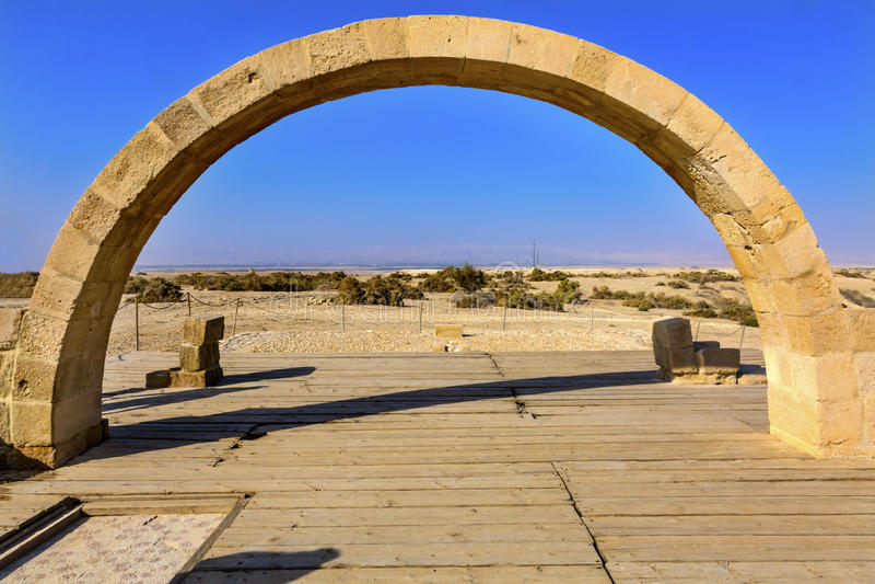 John Paul II Arch Elijah`s Hill Bethany Beyond Jordan. John Paul II Arch Ruins Byzantine Churches Elijah`s Hill Near Jesus Baptism Site Bethany Beyond Jordan stock photo