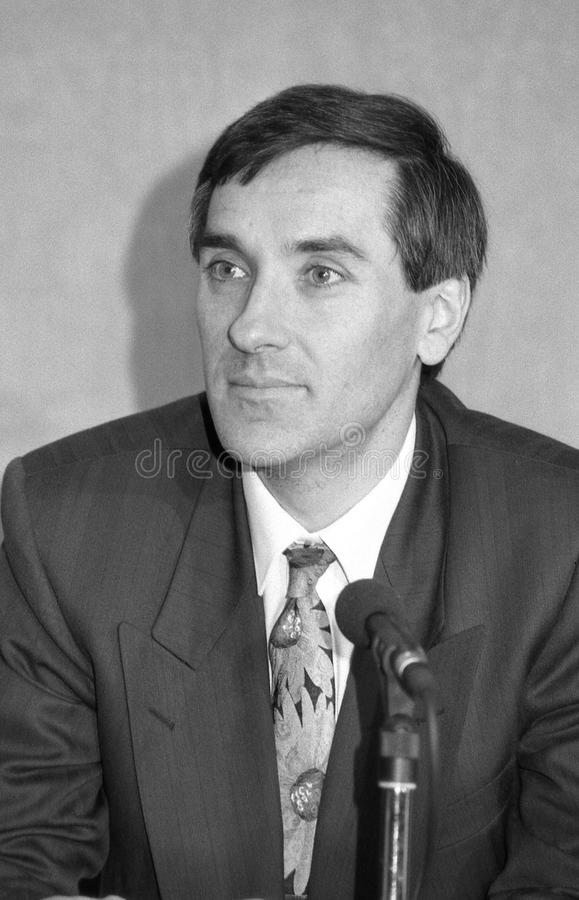 John Redwood. Minister of State at the Department of Trade and Industry and Conservative party Member of Parliament for Wokingham, attends a press conference stock photography