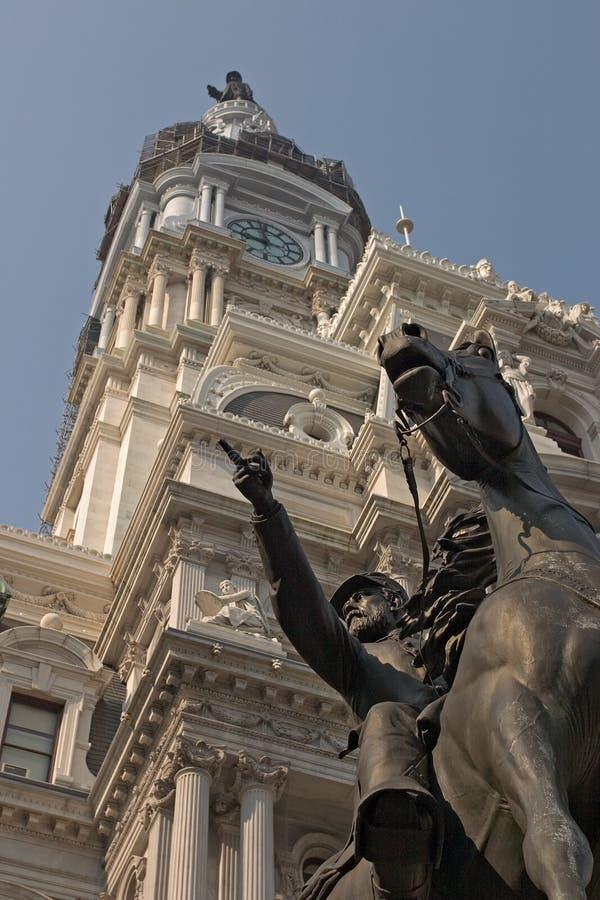 John Reynolds Statue and City Hall. John Reynolds Civil War Statue and Philadelphia City Hall stock photos