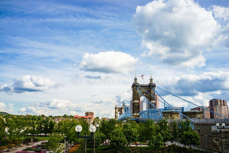 John A. Roebling Suspension Bridge, Cincinnati, Ohio royalty free stock images