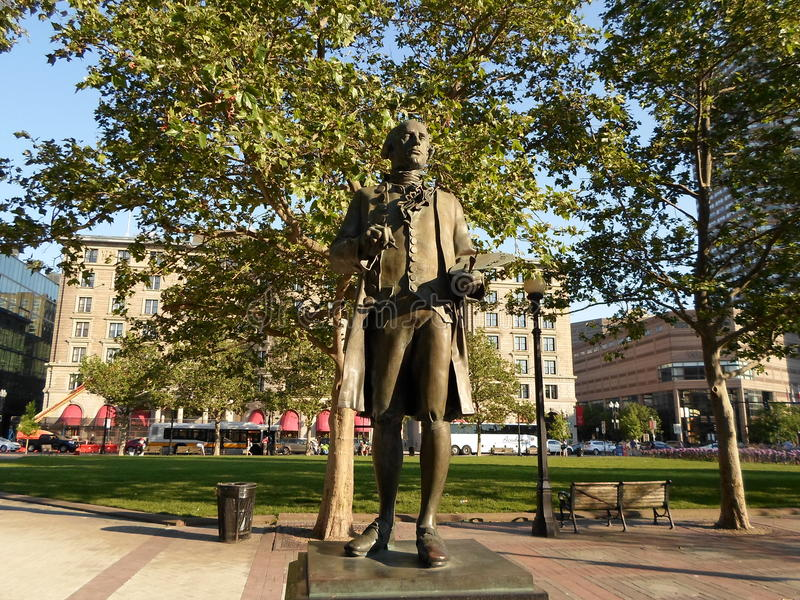 John Singleton Copley Statue Copley fyrkant, baksidafjärd, Boston, Massachusetts, USA fotografering för bildbyråer