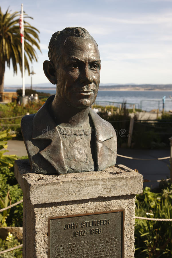 John Steinbeck Bust. Cannery Row, Monterey Bay, California stock image