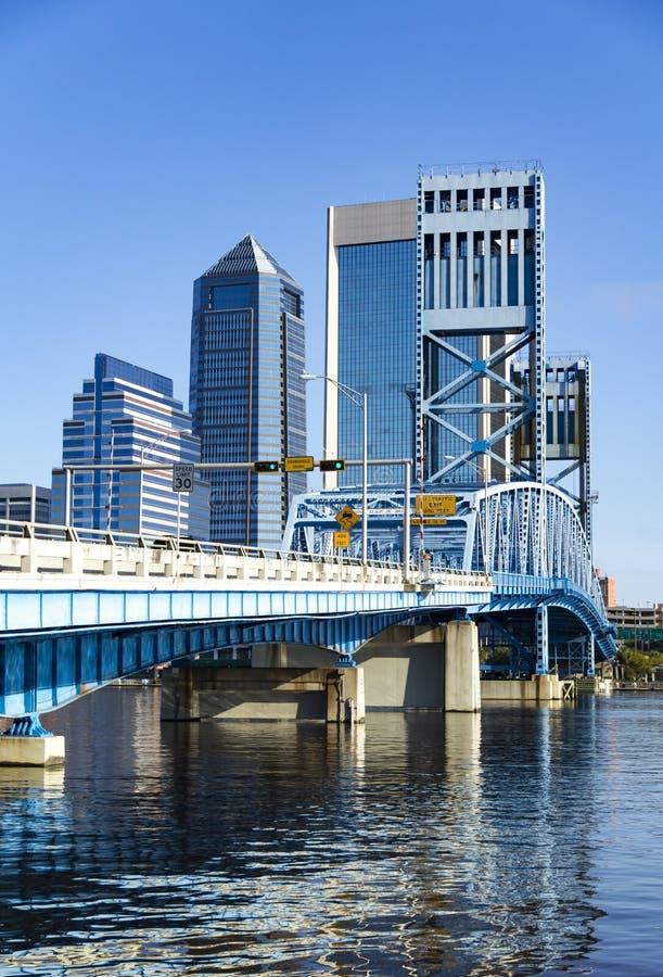 John T. Alsop Jr. Bridge in Downtown Jacksonville Florida. Main Street Bridge over the St. Johns River leading into downtown Jacksonville Florida stock image