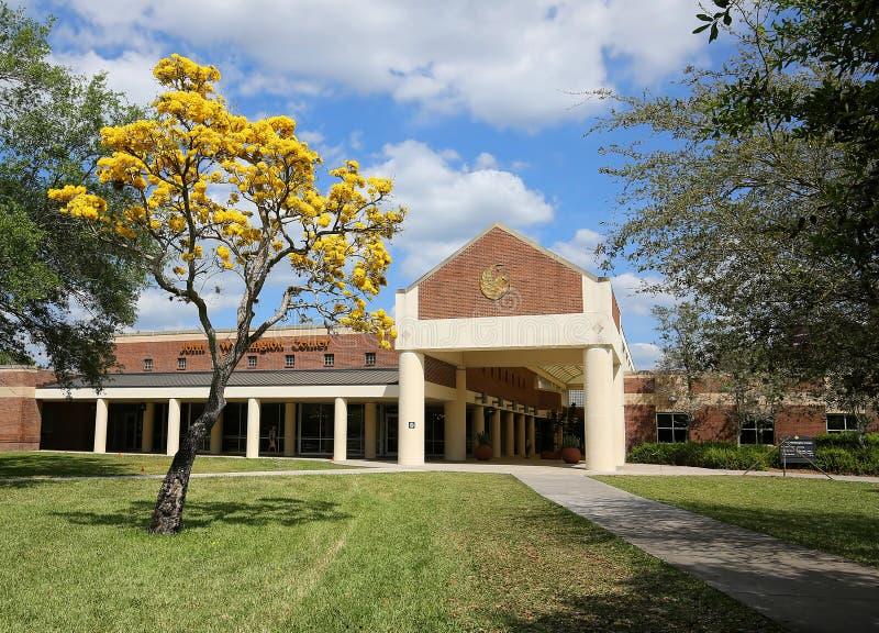 John T. Washington complex at UCF. ORLANDO, FLORIDA, USA - MARCH 15, 2019:  University of Central Florida`s John T. Washington Center, a covered breezeway with royalty free stock photography