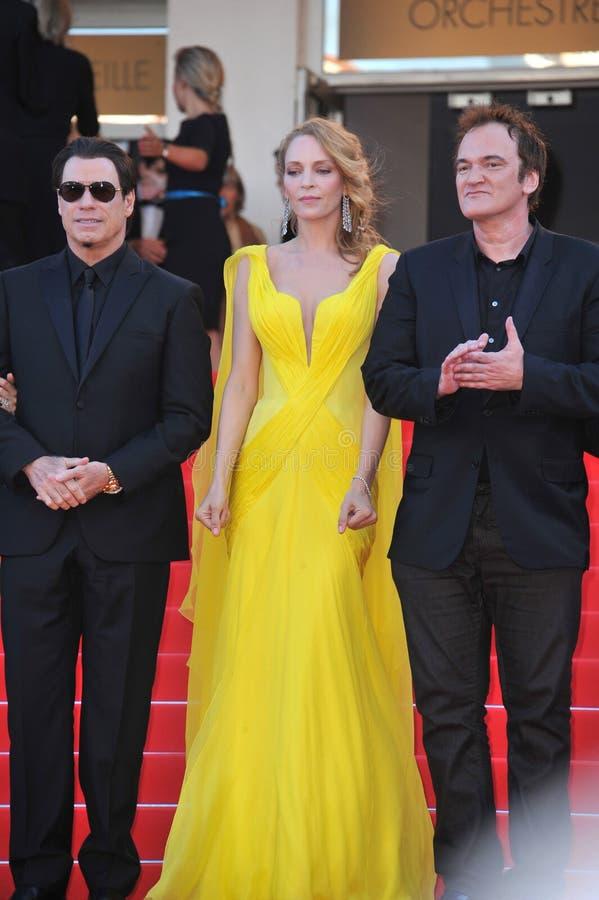 John Travolta et Uma Thurman et Quentin Tarantino photographie stock libre de droits