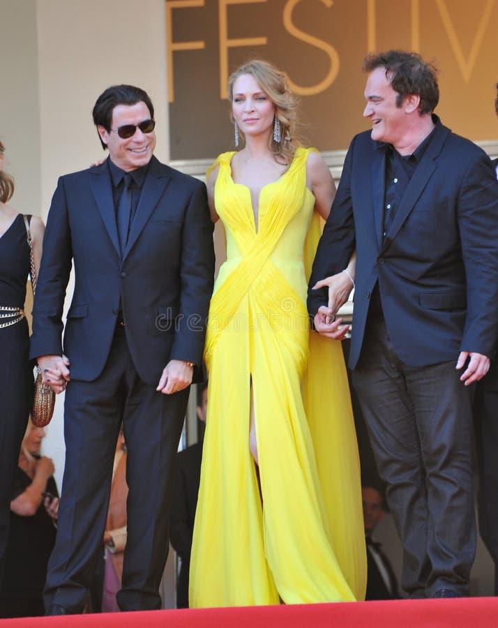 John Travolta et Uma Thurman et Quentin Tarantino images libres de droits