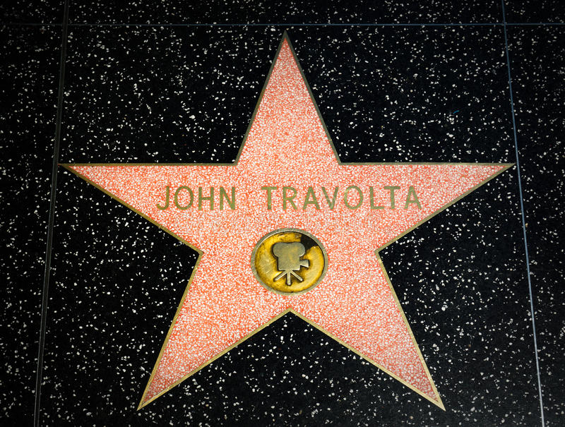 John Travolta gwiazda na Hollywood spacerze sława obrazy royalty free
