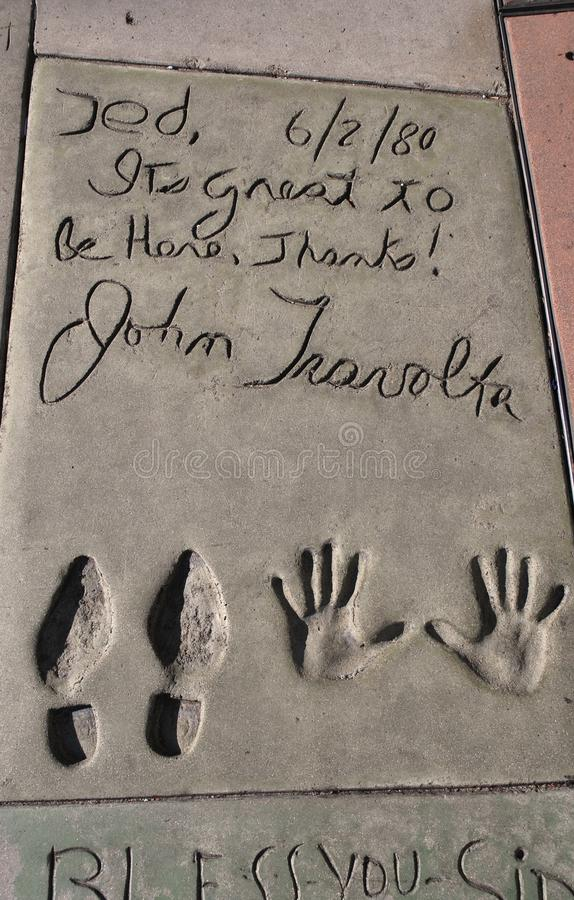 John Travolta S Imprint By The Chinese Theatre Editorial Photo