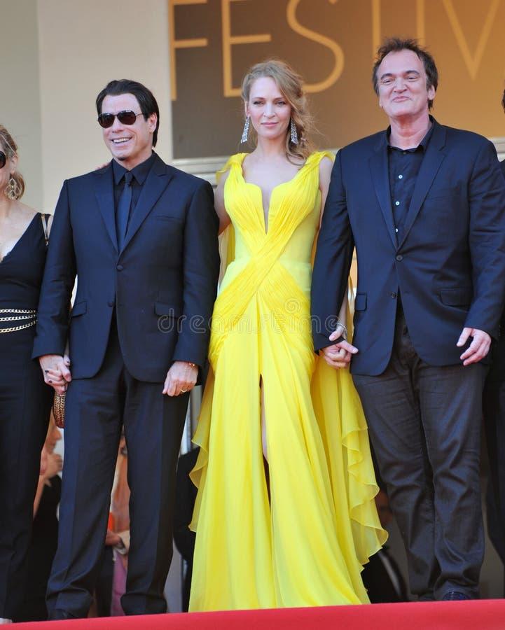 John Travolta u. Uma Thurman u. Quentin Tarantino stockfotos
