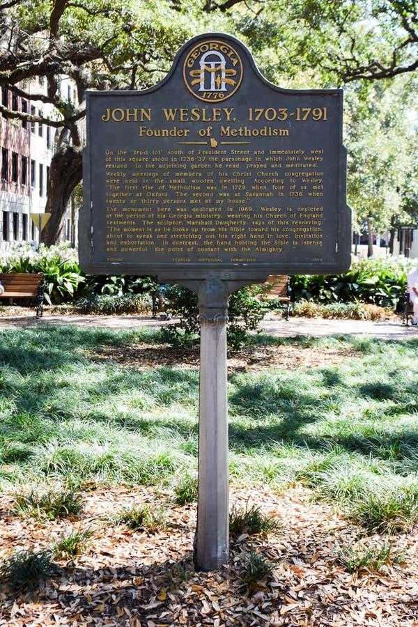 John Wesley Historical Placard en la sabana, GA fotografía de archivo libre de regalías