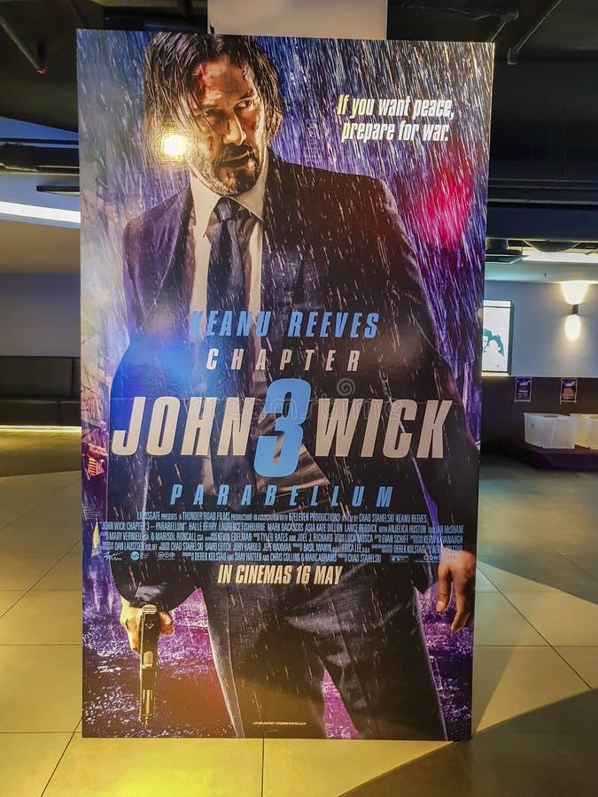 John Wick 3 Parabellum filmaffisch Den här filmen handlar om en legendarisk träffare som startar Keanu Reeves royaltyfri foto