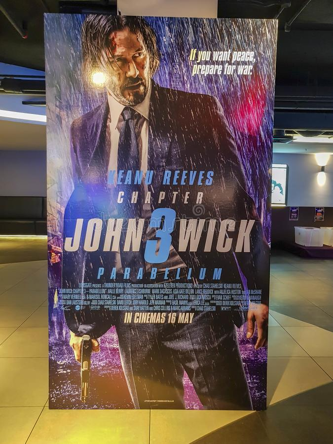 John Wick 3 Parabellum movie poster. This movie is about legendary hit man starring Keanu Reeves royalty free stock photography
