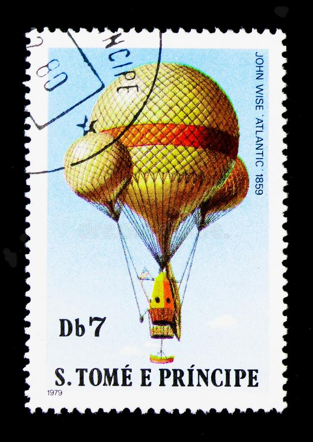 John Wise \'Atlantic\', 1859, Ballons serie, circa 1979. MOSCOW, RUSSIA - MARCH 28, 2018: A stamp printed in Sao Tomea and Principe shows John Wise \'Atlantic stock photos