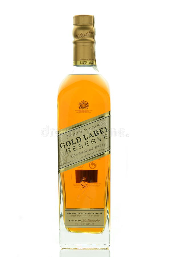 Johnnie Walker Gold Label blended whisky isolated on white background stock photos