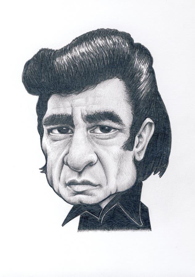 Johnny Cash Caricature fotos de archivo libres de regalías