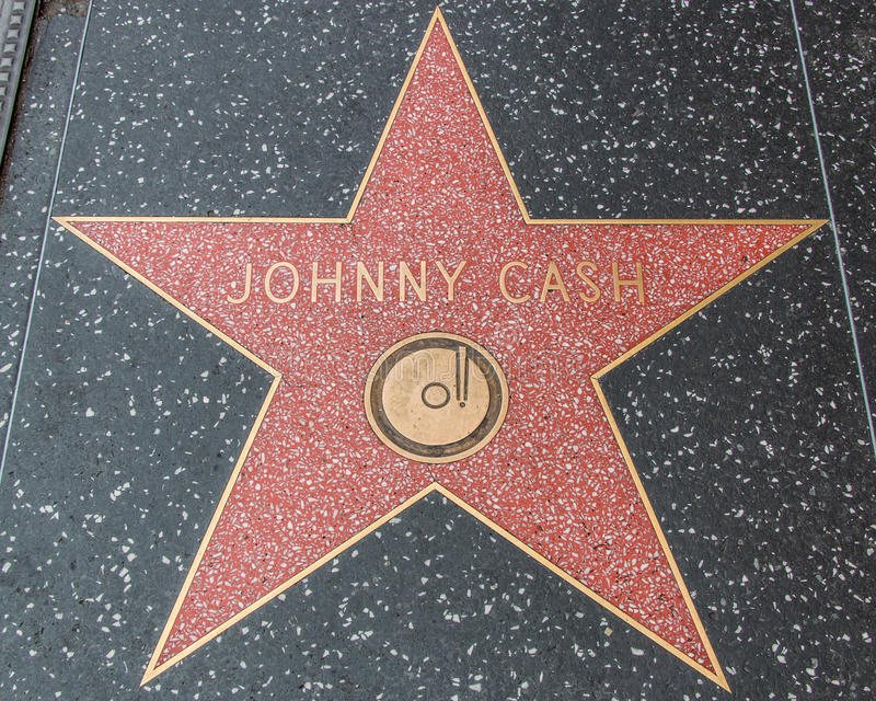 Johnny Cash Star op de Hollywood-Gang van Bekendheid stock afbeeldingen