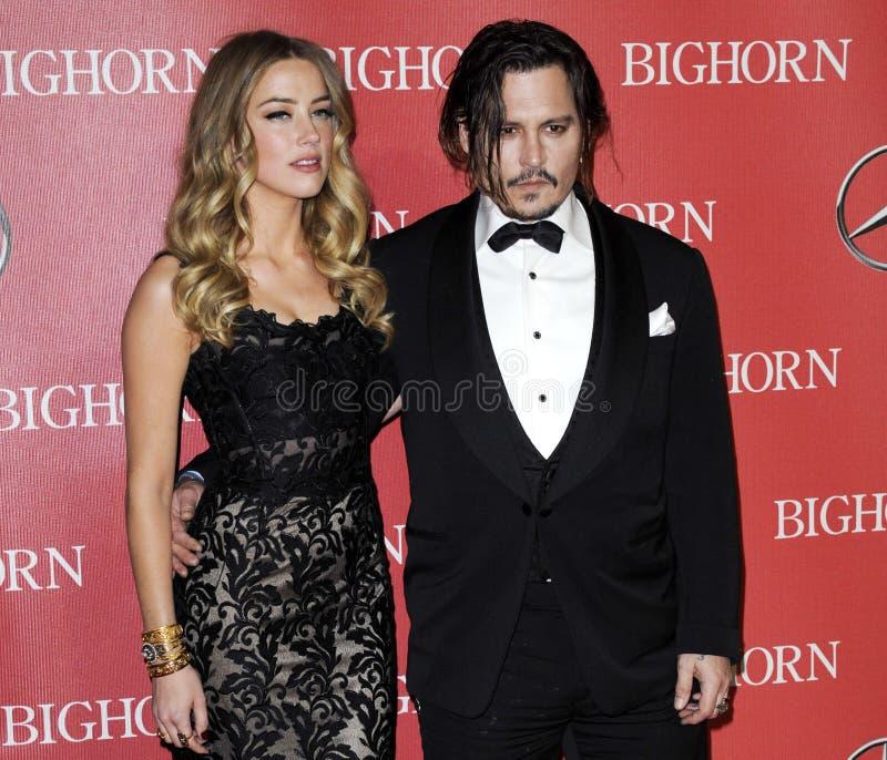 Johnny Depp en Amber Heard royalty-vrije stock afbeelding
