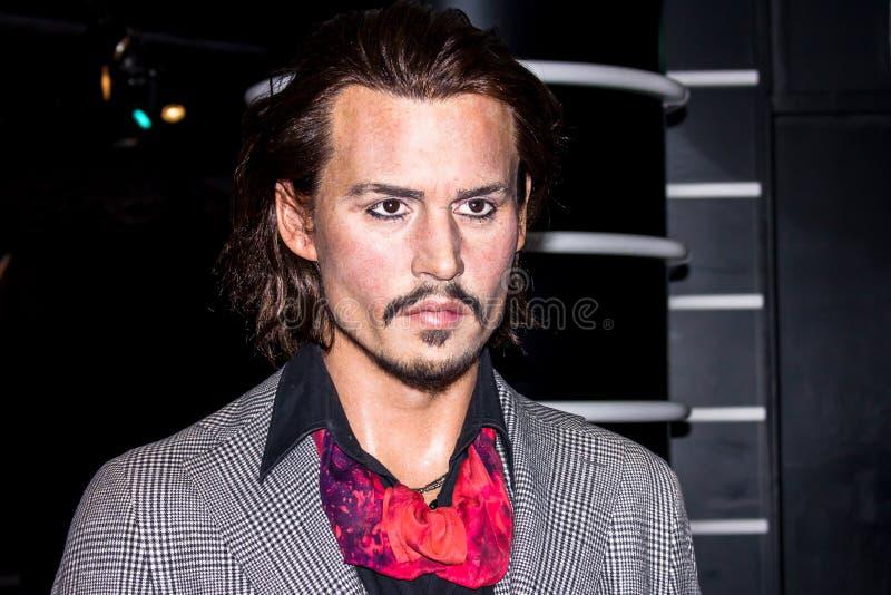 Johnny Depp - figura de cera, Amsterdão da senhora Tussaud fotografia de stock