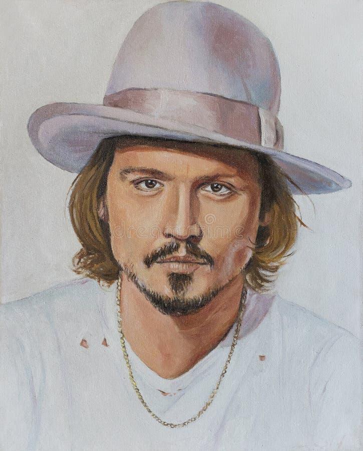Johnny Depp Het schilderen op canvas stock illustratie