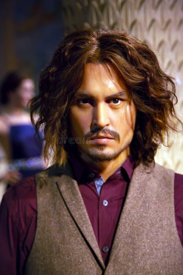 Johnny Depp in Mevrouw Tussauds van New York stock foto's