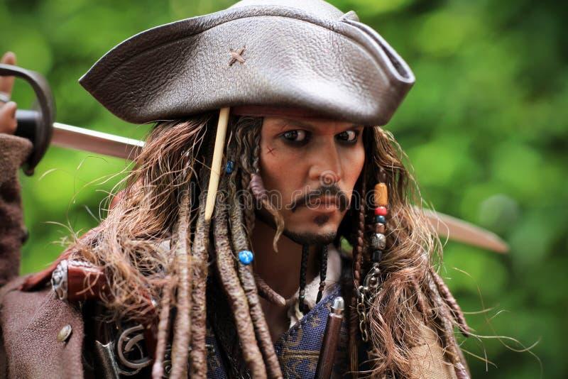 Johnny Depp som modelldiagramet 1/6 skala för kapten Jack Sparrow royaltyfri foto