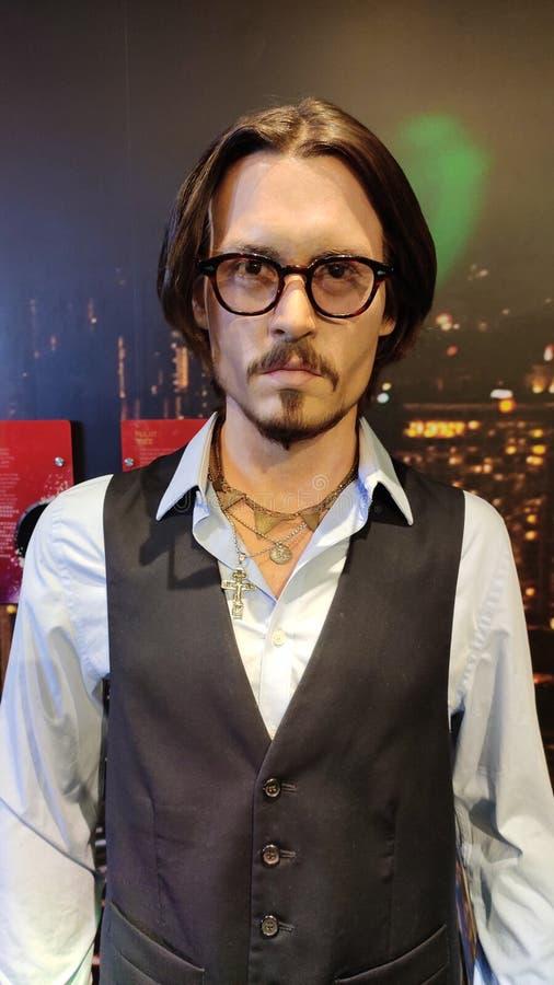 Johnny Depp vaxdiagram på madamtussaudsmuseet singapore royaltyfria foton