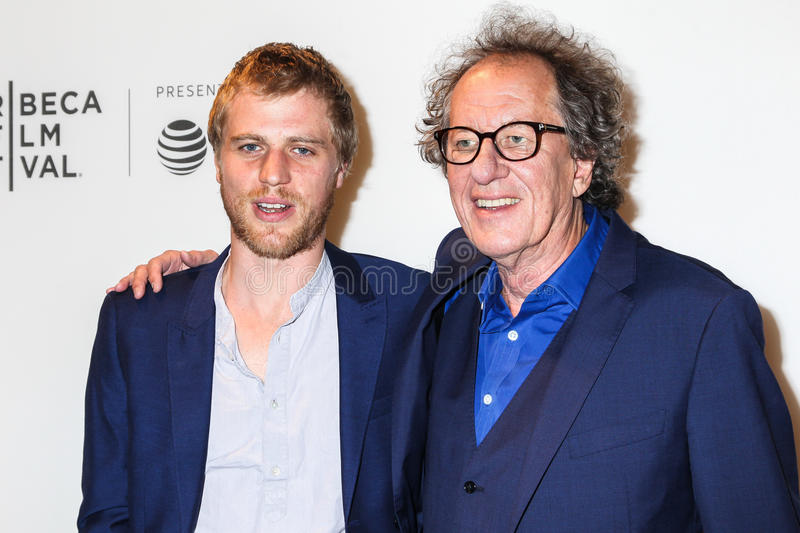 Johnny Flynn and Geoffrey Rush. NEW YORK, NY - APRIL 20: Actors Johnny Flynn and Geoffrey Rush attend the `Genius` Premiere during the 2017 Tribeca Film Festival royalty free stock photo