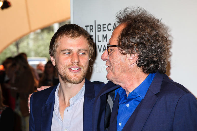 Johnny Flynn and Geoffrey Rush. NEW YORK, NY - APRIL 20: Actors Johnny Flynn and Geoffrey Rush attend the `Genius` Premiere during the 2017 Tribeca Film Festival royalty free stock images