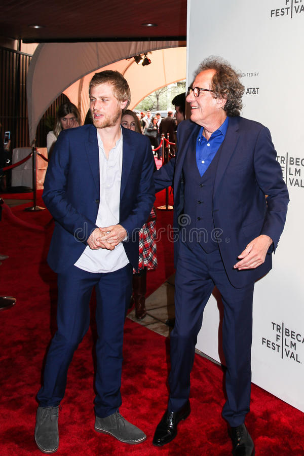 Johnny Flynn and Geoffrey Rush. NEW YORK, NY - APRIL 20: Actors Johnny Flynn and Geoffrey Rush attend the `Genius` Premiere during the 2017 Tribeca Film Festival stock photography