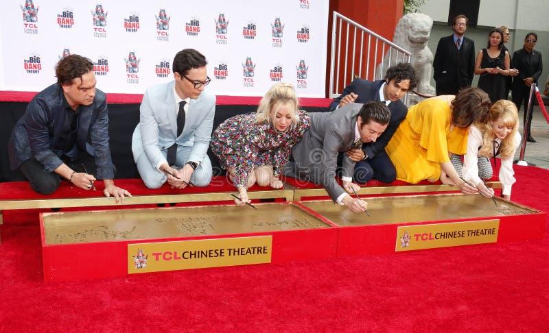 Johnny Galecki, Jim Parsons, Kaley Cuoco, Simon Helberg, Kunal Nayyar, Mayim Bialik and Melissa Rauch. At the handprints ceremony for `The Big Bang Theory` held royalty free stock photography