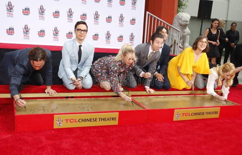 Johnny Galecki, Jim Parsons, Kaley Cuoco, Simon Helberg, Kunal Nayyar, Mayim Bialik and Melissa Rauch. At the handprints ceremony for `The Big Bang Theory` held stock photo