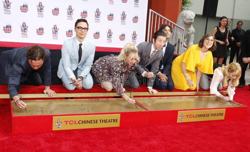Johnny Galecki, Jim Parsons, Kaley Cuoco, Simon Helberg, Kunal Nayyar, Mayim Bialik and Melissa Rauch. At the handprints ceremony for `The Big Bang Theory` held stock image