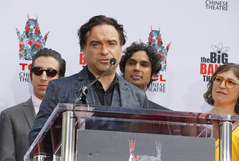 Johnny Galecki, Simon Helberg and Kunal Nayyar. At the handprints ceremony for `The Big Bang Theory` held at the TCL Chinese Theatre IMAX in Hollywood, USA on royalty free stock photo