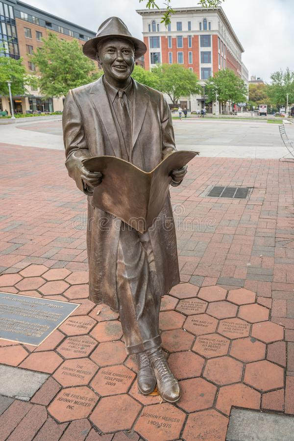 Johnny Mercer-Statue in Ellis Square in der Savanne stockbilder