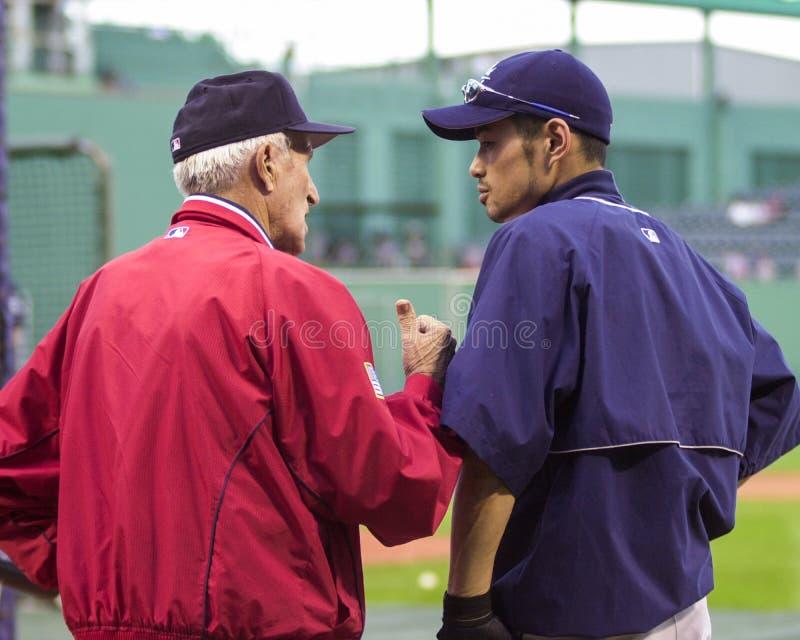 Johnny Pesky och Ichiro arkivbilder