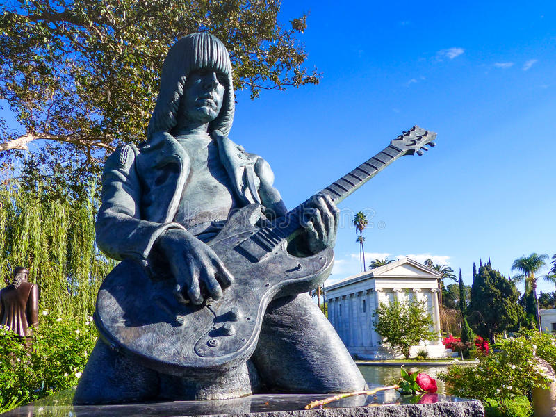 Johnny Ramone statua W Hollywood Na zawsze cmentarzu obraz royalty free