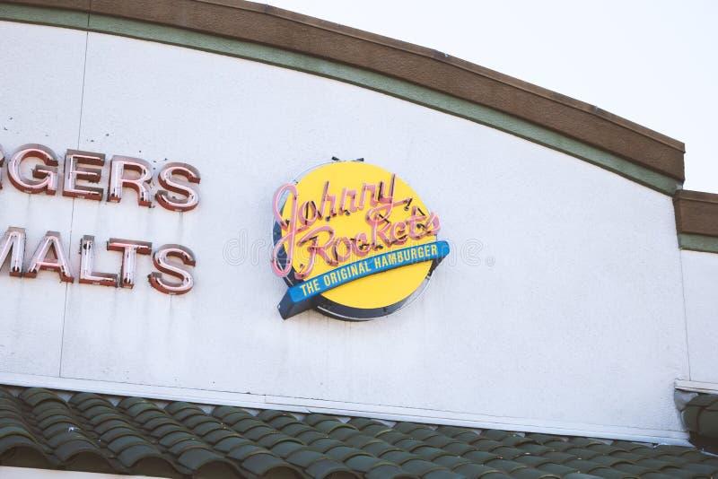 Johnny Rockets-Restaurantzeichen stockfotos
