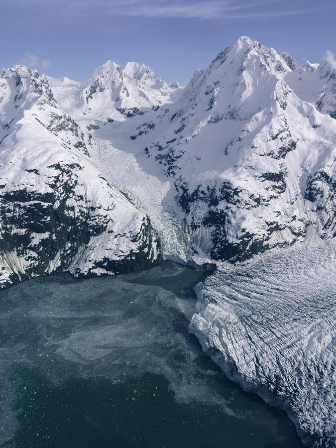Johns Hopkins Glacier. In Glacier Bay National Park in Southeast Alaska as seen from the air in late winter royalty free stock photography