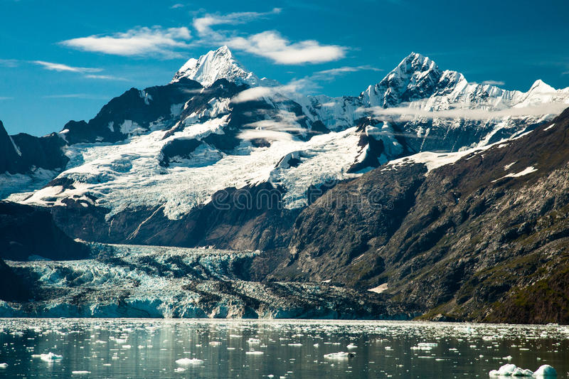 Johns Hopkins Glacier. Summer View of Johns Hopkins Glacier With Small Ice Bergs in Foreground stock photo