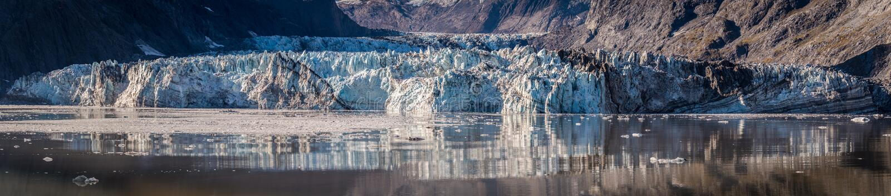 Johns- Hopkinsgletscher im Nationalpark Glacier Bays und in der Konserve, Alaska stockbild