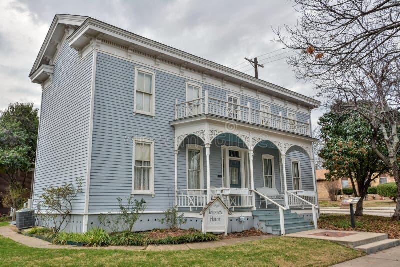 Johnson House, fechando a partir de 1870, en McKinney, TX imagenes de archivo