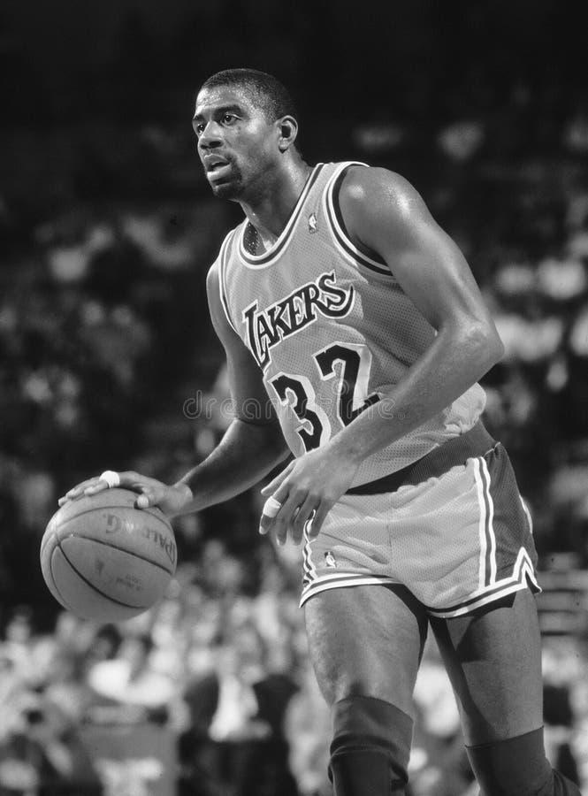 Johnson Los Angeles Lakers m?gico imagens de stock royalty free
