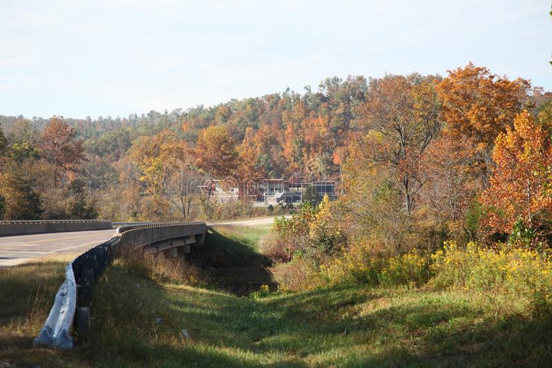 Johnson Shut-in State Park Welcome Center in the Autumn. Johnson Shut-ins State Park in Reynolds County, Missouri. The park experienced a huge disaster when a royalty free stock photos