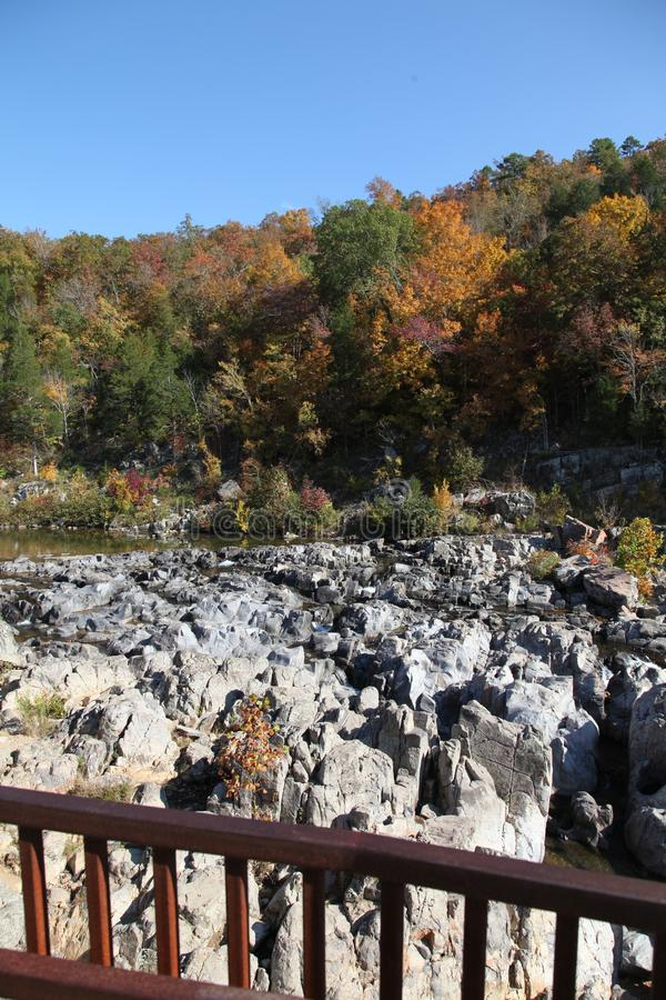 Johnson Shut-in State Park Welcome Center in Autumn. Johnson Shut-ins State Park in Reynolds County, Missouri. The park experienced a huge disaster when a stock images