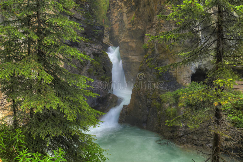Johnston Canyon. The turbulent waters of Lower Falls at Johnston Canton in Banff National Park in Alberta Canada. This popular tourist attraction features the royalty free stock photos