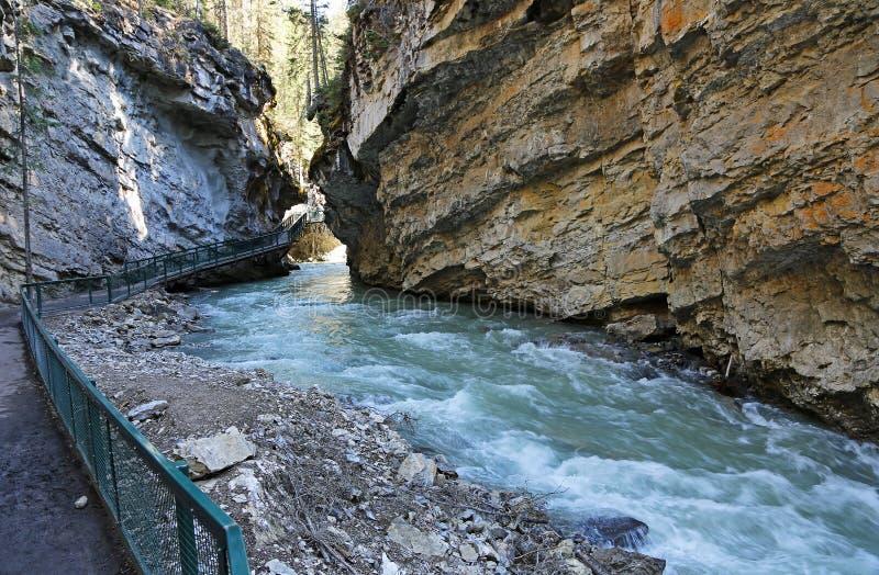 Walking in Johnston Canyon. Johnston Canyon - Banff National Park, Alberta, Canada royalty free stock photo