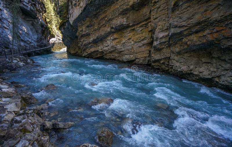 Johnston Canyon in Banff National Park. Johnston Canyon, Banff National Park, Bow Valley Parkway, AB, Canada stock image
