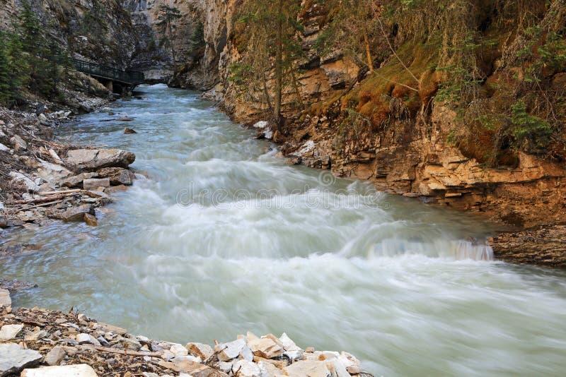 In Johnston Canyon. Johnston Canyon - Banff National Park, Alberta, Canada stock photography