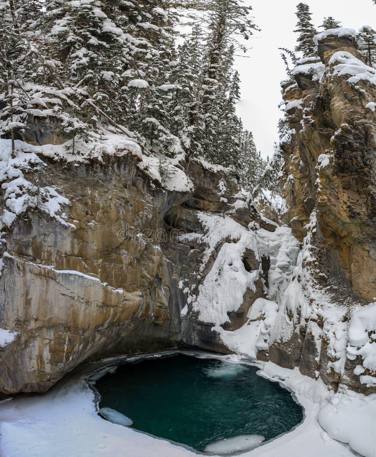 Johnston Canyon Lower fällt während eines eisigen und schneebedeckten Tages, Bogenfluß, Alberta Kanada lizenzfreie stockfotografie