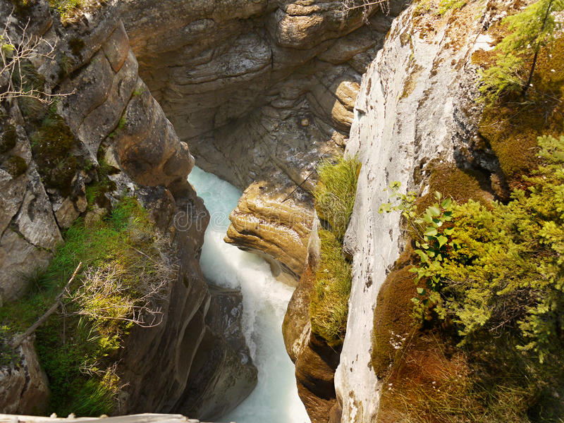 Johnston Canyon Waterfall, Canada royalty-vrije stock afbeeldingen